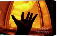 Color Stretching Canvas Prints - Man with outstretched hand by window Canvas Print by Sami Sarkis