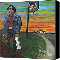 Country Dirt Roads Painting Canvas Prints - Man with Revenge Canvas Print by Aimee Vance
