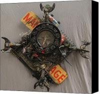 Crucifix Mixed Media Canvas Prints - Manage Canvas Print by Geoffrey Kieran