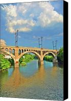 Belmont Canvas Prints - Manayunk Bridge Canvas Print by Bill Cannon