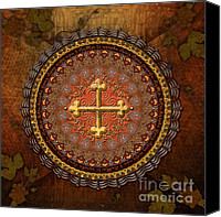 Vine Canvas Prints - Mandala Armenian Cross Canvas Print by Bedros Awak