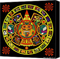 Valdes Canvas Prints - Mandala Azteca Canvas Print by Roberto Valdes Sanchez