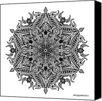 Buddhist Drawings Canvas Prints - Mandala drawing 3 Canvas Print by Jim Gogarty