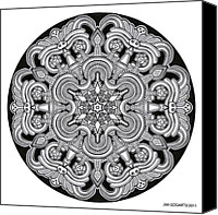 Buddhist Drawings Canvas Prints - Mandala drawing 31 Canvas Print by Jim Gogarty