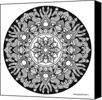 Buddhist Drawings Canvas Prints - Mandala drawing 32 Canvas Print by Jim Gogarty