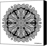 Buddhist Drawings Canvas Prints - Mandala drawing 36 Canvas Print by Jim Gogarty