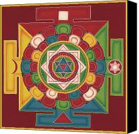 Tibetan Buddhism Canvas Prints - Mandala of the 5 Elements Earth-Water-Fire-Air-Space Canvas Print by Carmen Mensink