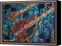 Instrument Tapestries - Textiles Canvas Prints - Mandolin - Bordered Canvas Print by Sue Duda