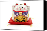 Still Life Sculpture Photo Canvas Prints - Maneki Neko Canvas Print by Fabrizio Troiani