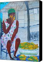 Nicole Jean-louis Canvas Prints - Mango Merchant Woman Canvas Print by Nicole Jean-Louis