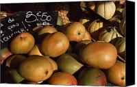 Mangoes Canvas Prints - Mangoes And Melons Priced In Euros Canvas Print by David Evans
