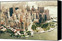 Waterfront Canvas Prints - Manhattan Canvas Print by Albert Mollon