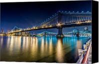 Harlem River Canvas Prints - Manhattan and Brooklyn Bridges at night. Canvas Print by Val Black Russian Tourchin