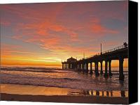 Pier Canvas Prints - Manhattan Beach Sunset Canvas Print by Matt MacMillan