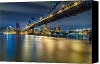 Harlem River Canvas Prints - Manhattan Bridge and Downtown Brooklyn at night. Canvas Print by Val Black Russian Tourchin