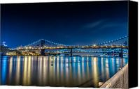 Harlem River Canvas Prints - Manhattan Bridge and light reflections in East River. Canvas Print by Val Black Russian Tourchin