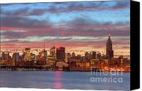 Manhattan Canvas Prints - Manhattan Dawn Skyline I Canvas Print by Clarence Holmes