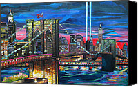 Brooklyn Bridge Canvas Prints - Manhattan Kinda Night Canvas Print by Patti Schermerhorn