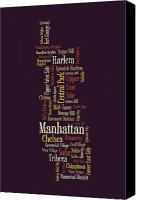 Map Art Digital Art Canvas Prints - Manhattan New York Typographic Map Canvas Print by Michael Tompsett