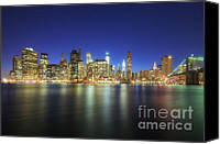 Empire Photo Canvas Prints - Manhattan Nite Lites NYC Canvas Print by Yhun Suarez