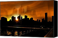 City Streets Canvas Prints - Manhattan Silhouette Canvas Print by Svetlana Sewell