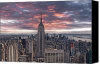 Empire Photo Canvas Prints - Manhattan under a red sky Canvas Print by Joachim G Pinkawa