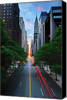 Road Travel Canvas Prints - Manhattanhenge From 42nd Street, New York City Canvas Print by Andrew C Mace