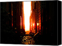 Nyc Canvas Prints - Manhattanhenge Sunset Overlooking Times Square - NYC Canvas Print by Vivienne Gucwa