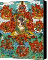 Thangka Canvas Prints - Maning Mahakala with Retinue Canvas Print by Sergey Noskov
