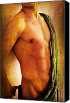 Artistic Nude  Canvas Prints - Manipulation In Yellow Canvas Print by Mark Ashkenazi