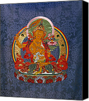 Tibetan Buddhism Tapestries - Textiles Canvas Prints - Manjushri Canvas Print by Leslie Rinchen-Wongmo