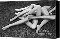 Silver Canvas Prints - Mannequin Legs Canvas Print by Dave Gordon