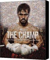 Pen Digital Art Canvas Prints - Manny Pacquiao-The Champ Canvas Print by Ted Castor