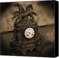 Brass Digital Art Canvas Prints - Mantel Clock Canvas Print by Mike McGlothlen