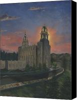Mormon Painting Canvas Prints - Manti Sunrise Canvas Print by Jeff Brimley