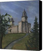 Mormon Painting Canvas Prints - Manti Temple East Doors Canvas Print by Jeff Brimley