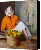 Mangoes Canvas Prints - Manuel the Fruit Vendor Resting Canvas Print by Dominica Alcantara