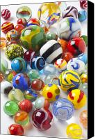 Toys Canvas Prints - Many beautiful marbles Canvas Print by Garry Gay