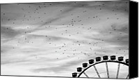 Flock Of Birds Canvas Prints - Many Birds Flying Over Giant Wheel In Berlin Canvas Print by Image by Ivo Berg (Crazy-Ivory)