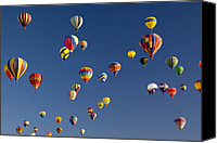 Balloon Fiesta Canvas Prints - Many Vividly Colored Hot Air Balloons Canvas Print by Ralph Lee Hopkins