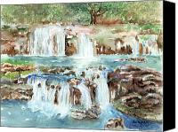Rocks Painting Canvas Prints - Many Waterfalls Canvas Print by Arline Wagner