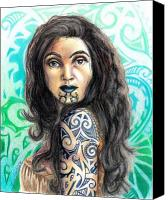 World Of Design Drawings Canvas Prints - Maori Woman Canvas Print by Scarlett Royal