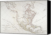 European Drawings Canvas Prints - Map depicting North America as Divided by the European Powers Canvas Print by American School