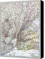 Manhattan Map Canvas Prints - Map: New York Area, 1906 Canvas Print by Granger