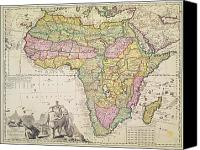 Geography Drawings Canvas Prints - Map of Africa Canvas Print by Pieter Schenk