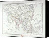 Antique Map Digital Art Canvas Prints - Map Of Asia Canvas Print by Fototeca Storica Nazionale