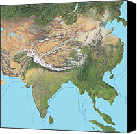 Tibetan Canvas Prints - Map Of Asia Canvas Print by Gary Hincks