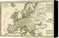 European Drawings Canvas Prints - Map of Europe Canvas Print by Guillaume Raynal