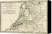 Geography Drawings Canvas Prints - Map of Holland Including the Seven United Provinces of the Low Countries Canvas Print by Guillaume Raynal