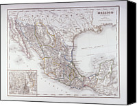 Antique Map Digital Art Canvas Prints - Map Of Mexico And Outlines Of Mexico City Canvas Print by Fototeca Storica Nazionale